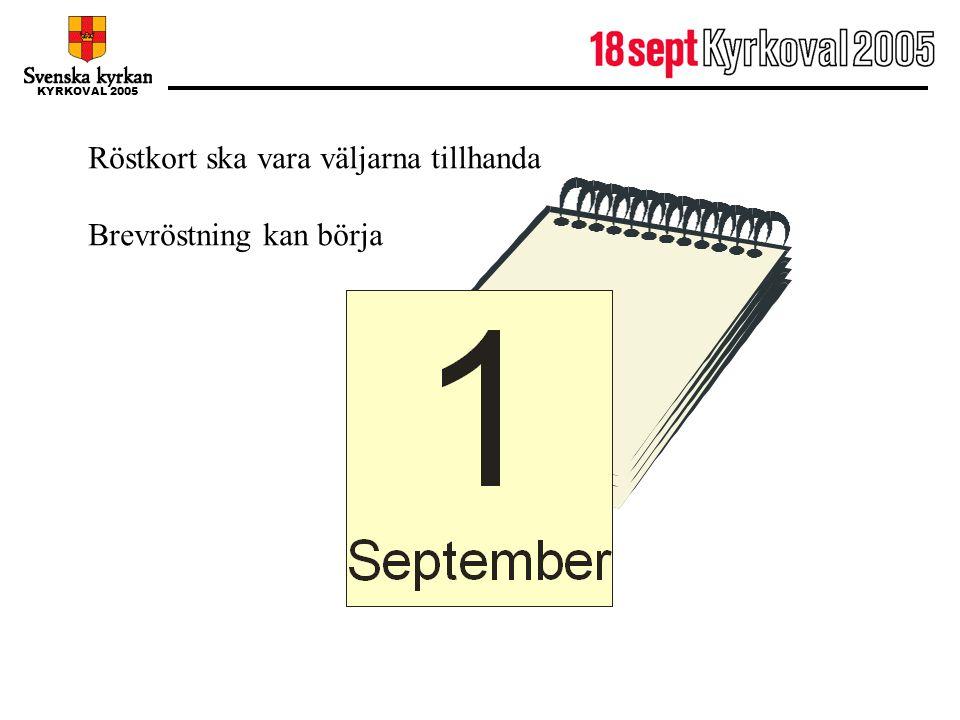 1 september Röstkort ska vara väljarna tillhanda