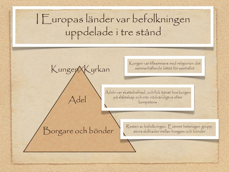 I Europas länder var befolkningen uppdelade i tre stånd
