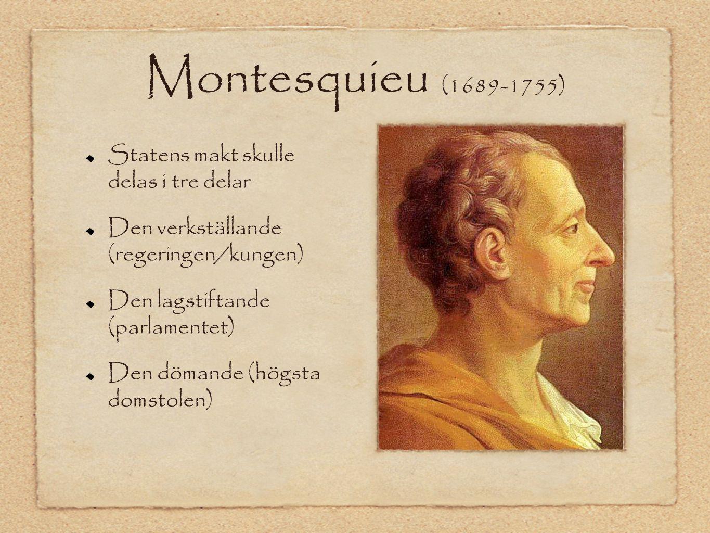 Montesquieu (1689-1755) Statens makt skulle delas i tre delar