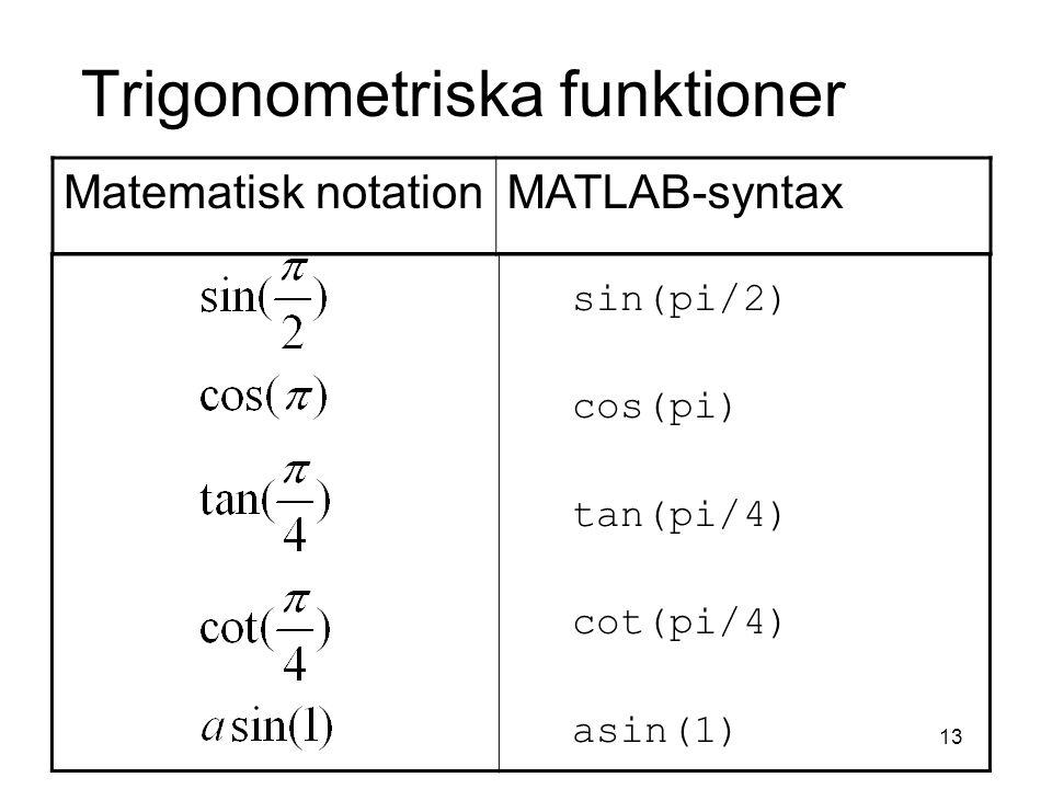 Trigonometriska funktioner
