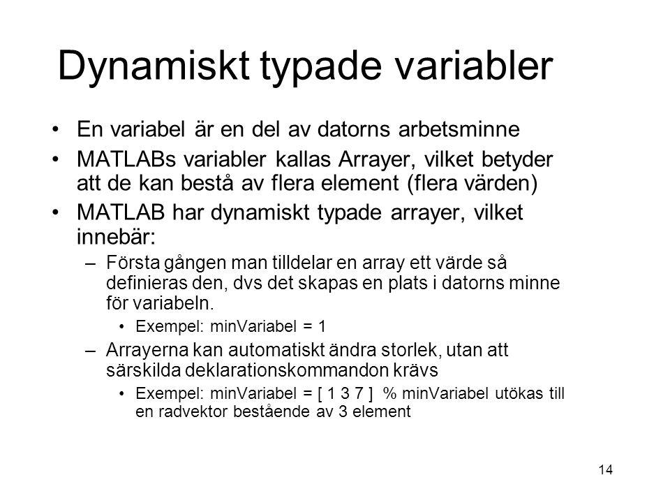 Dynamiskt typade variabler