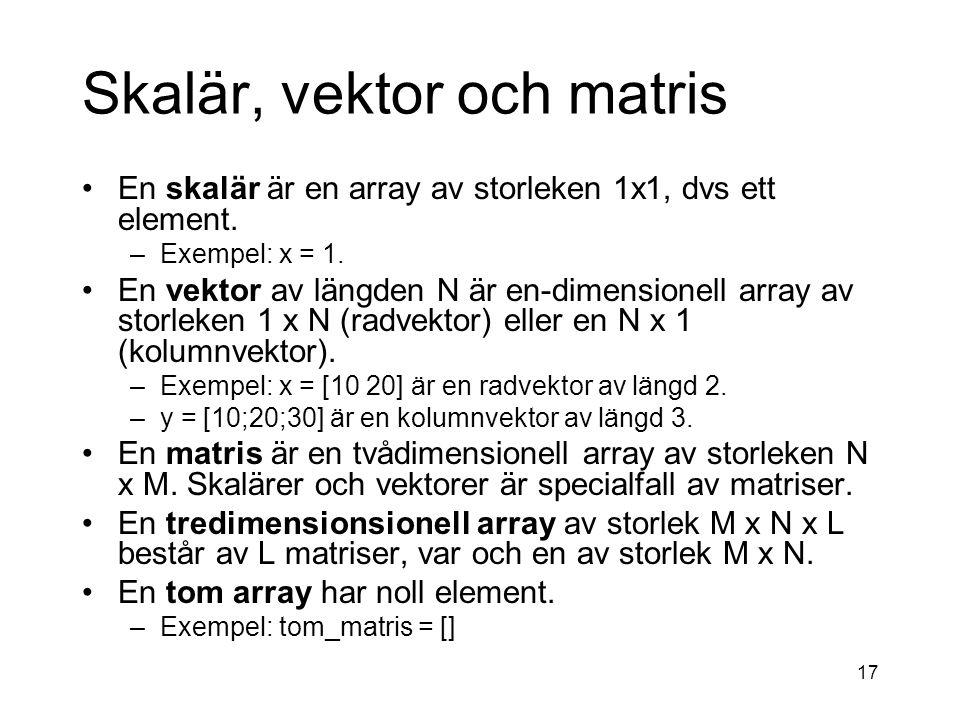 Skalär, vektor och matris