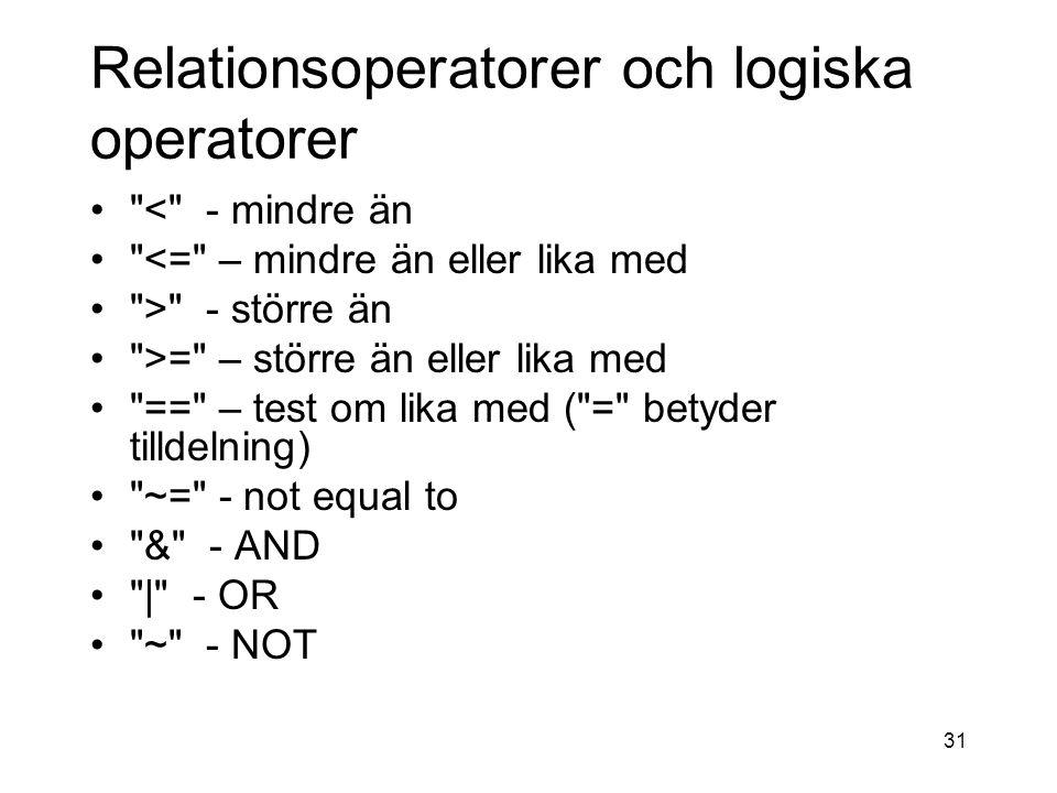 Relationsoperatorer och logiska operatorer