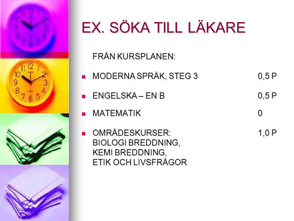 EX. SÖKA TILL LÄKARE MODERNA SPRÅK, STEG 3 0,5 P ENGELSKA – EN B 0,5 P
