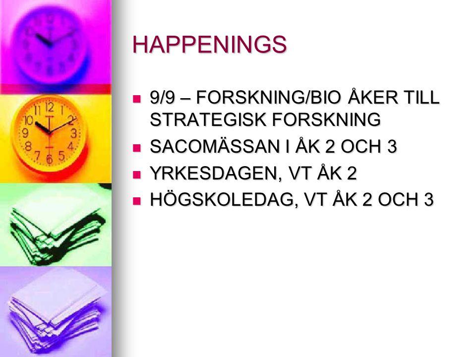 HAPPENINGS 9/9 – FORSKNING/BIO ÅKER TILL STRATEGISK FORSKNING