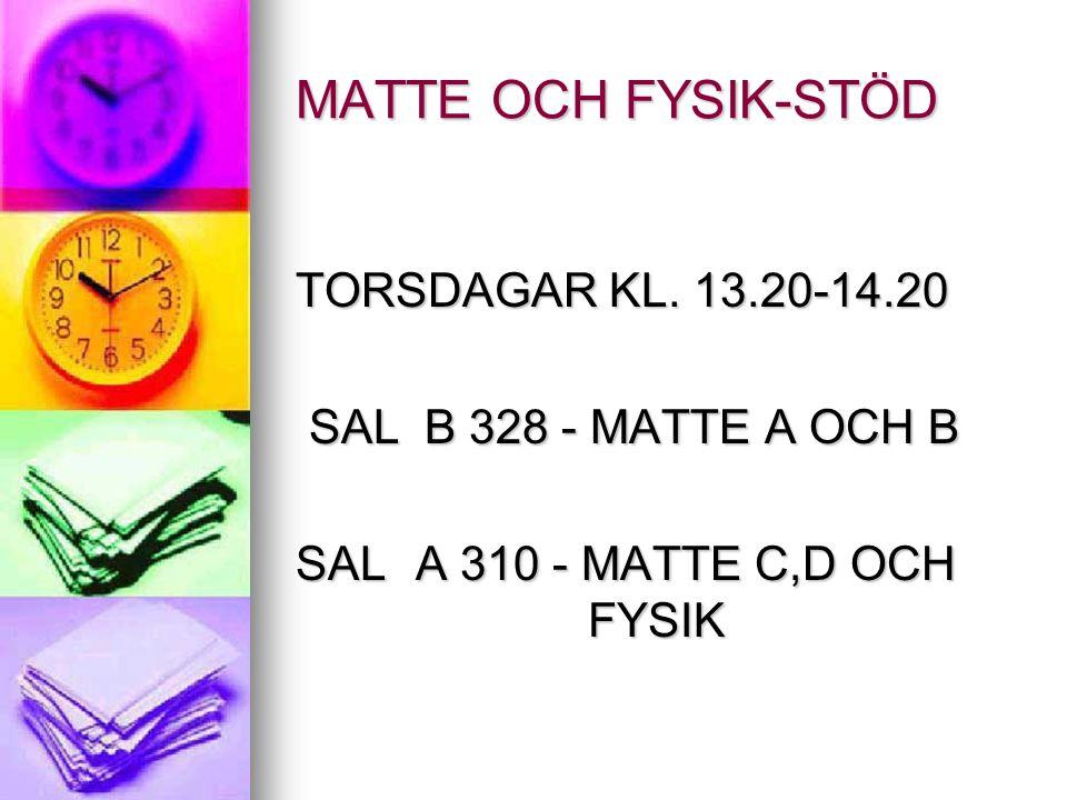 MATTE OCH FYSIK-STÖD TORSDAGAR KL. 13.20-14.20