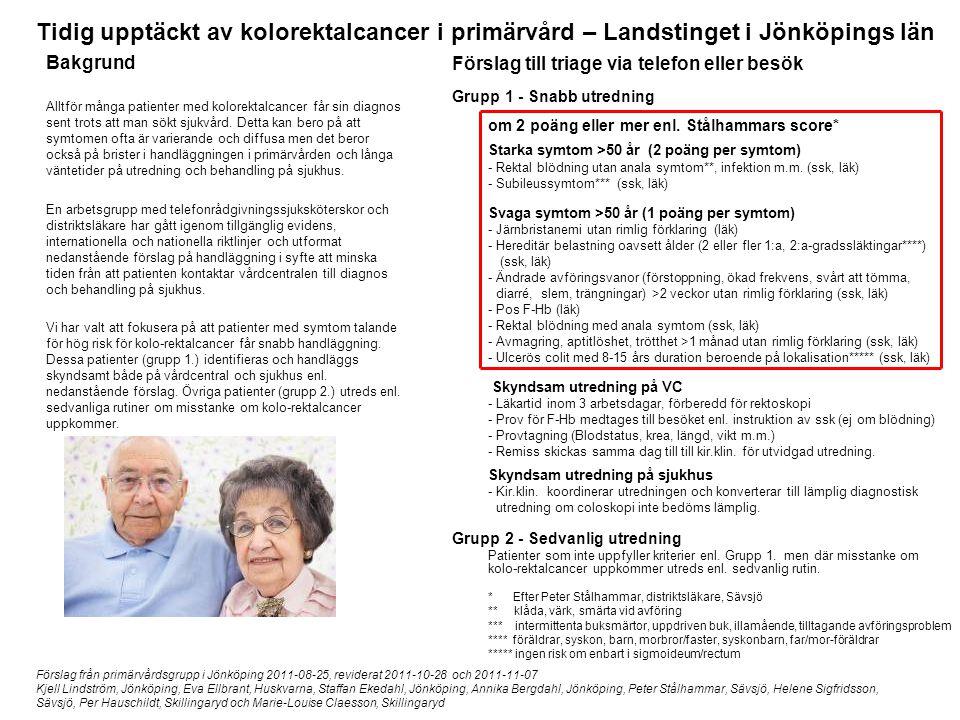 Tidig upptäckt av kolorektalcancer i primärvård – Landstinget i Jönköpings län