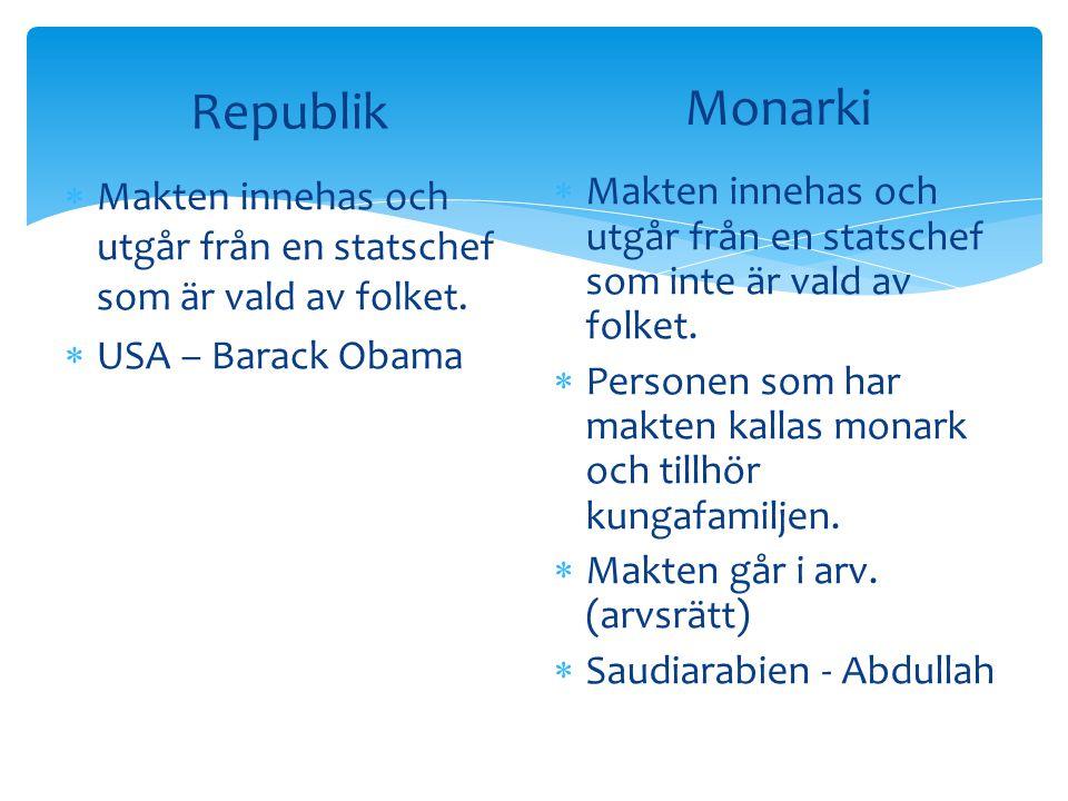 Republik Monarki. Makten innehas och utgår från en statschef som är vald av folket. USA – Barack Obama.