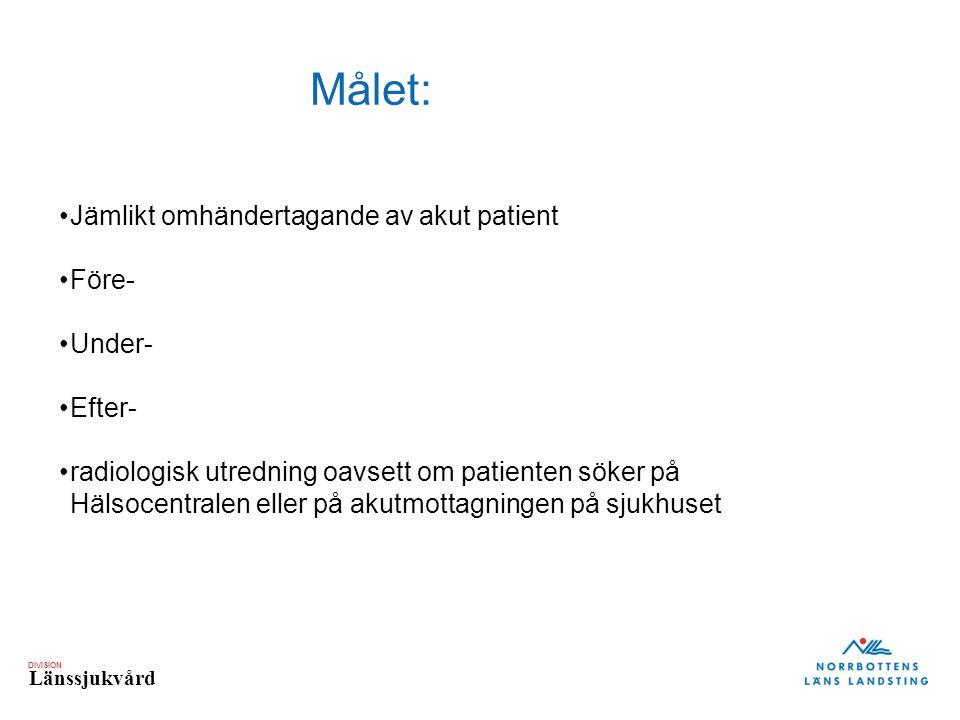 Målet: Jämlikt omhändertagande av akut patient Före- Under- Efter-
