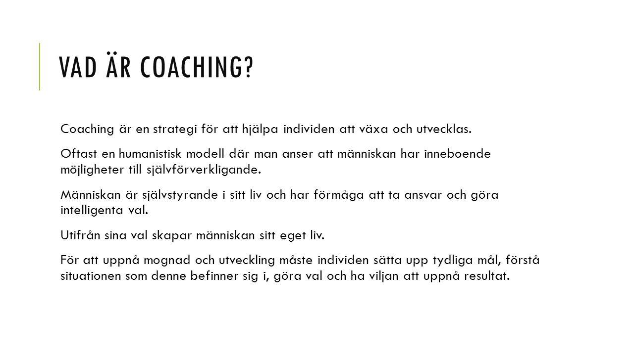 Vad är coaching Coaching är en strategi för att hjälpa individen att växa och utvecklas.