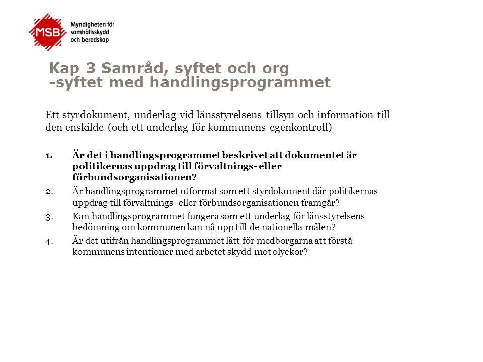 Kap 3 Samråd, syftet och org -syftet med handlingsprogrammet