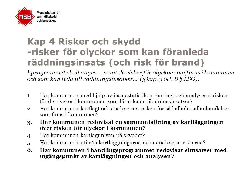 Kap 4 Risker och skydd -risker för olyckor som kan föranleda räddningsinsats (och risk för brand)