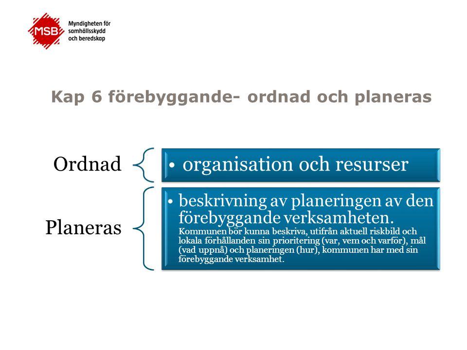 Kap 6 förebyggande- ordnad och planeras