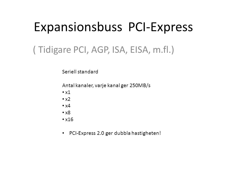 Expansionsbuss PCI-Express