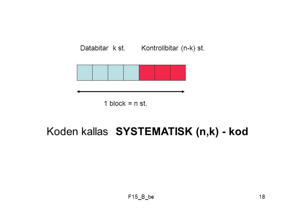 Koden kallas SYSTEMATISK (n,k) - kod