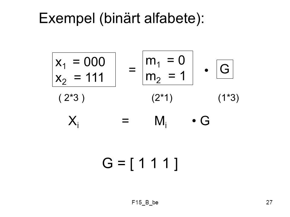 Exempel (binärt alfabete):