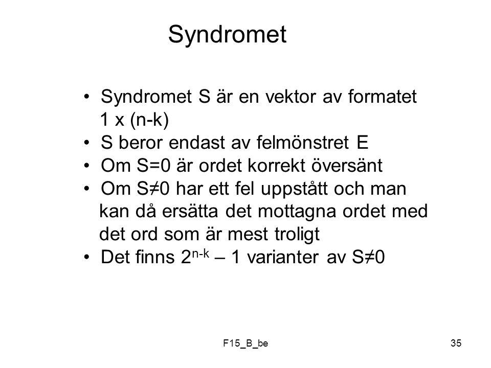 Syndromet Syndromet S är en vektor av formatet 1 x (n-k)
