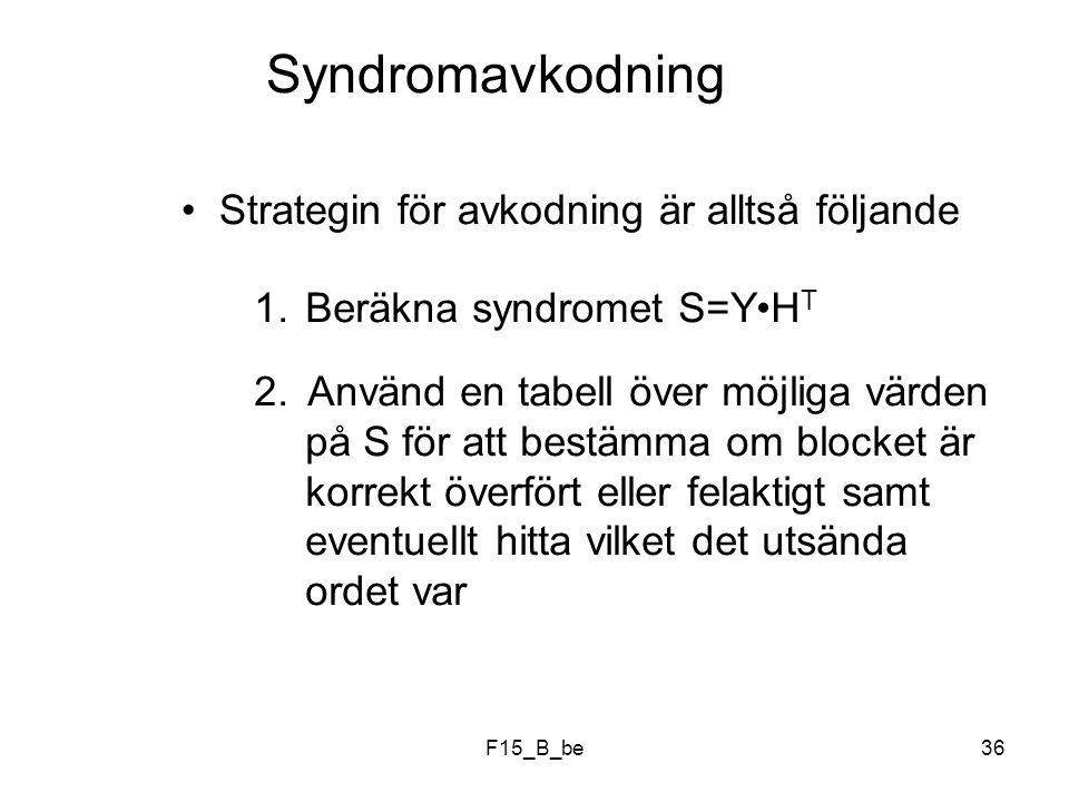 Syndromavkodning Strategin för avkodning är alltså följande