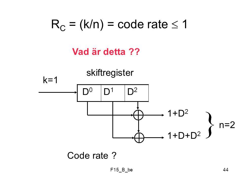 RC = (k/n) = code rate  1 Vad är detta skiftregister k=1 D0 D1 D2