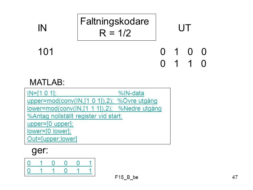 Faltningskodare R = 1/2 IN UT 101 0 1 0 0 0 1 1 0 ger: MATLAB: