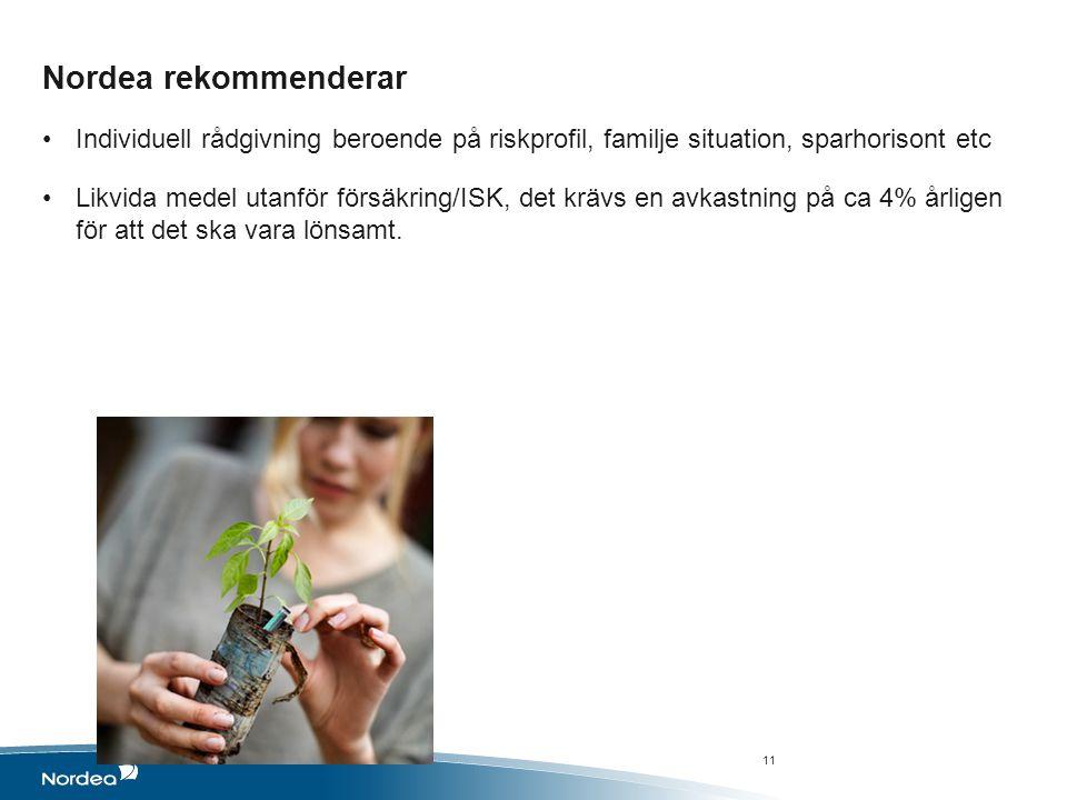 Nordea rekommenderar Individuell rådgivning beroende på riskprofil, familje situation, sparhorisont etc.
