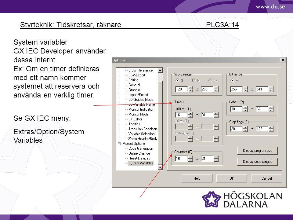 Styrteknik: Tidskretsar, räknare PLC3A:14