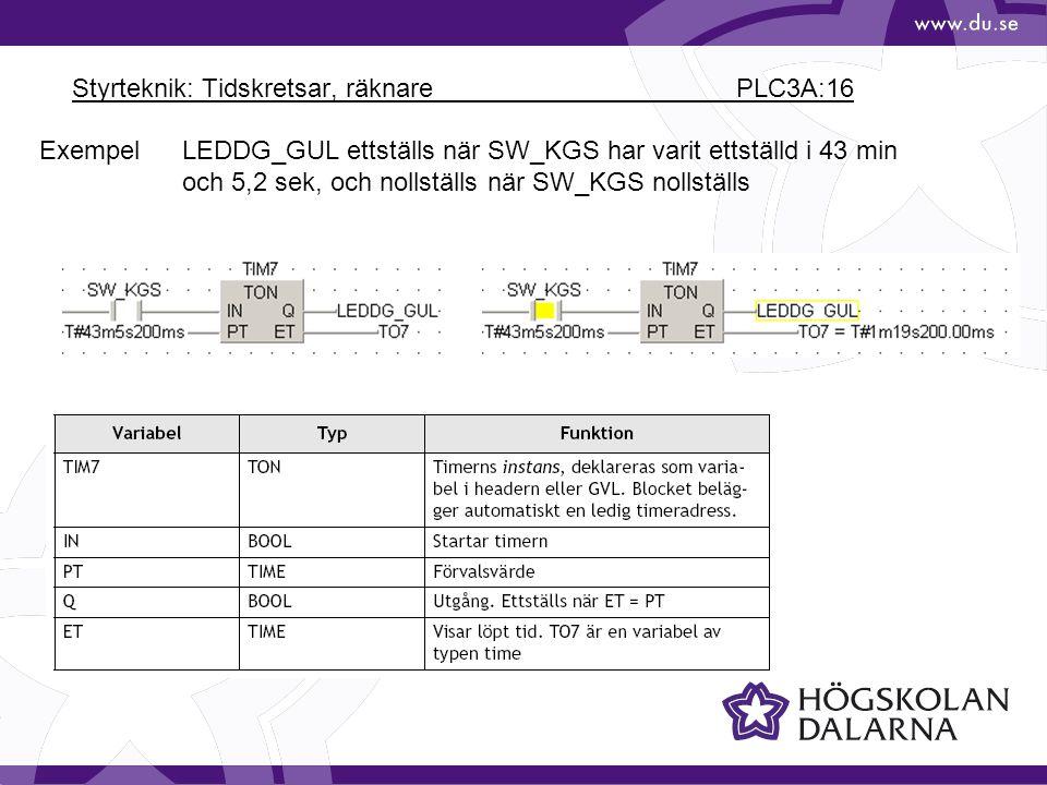 Styrteknik: Tidskretsar, räknare PLC3A:16