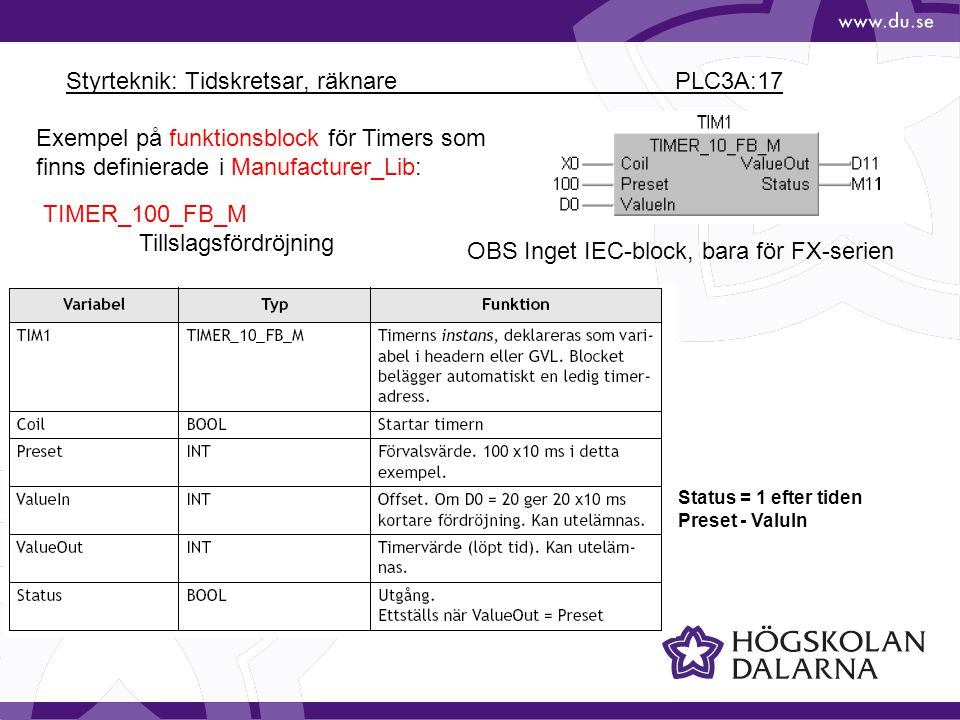 Styrteknik: Tidskretsar, räknare PLC3A:17