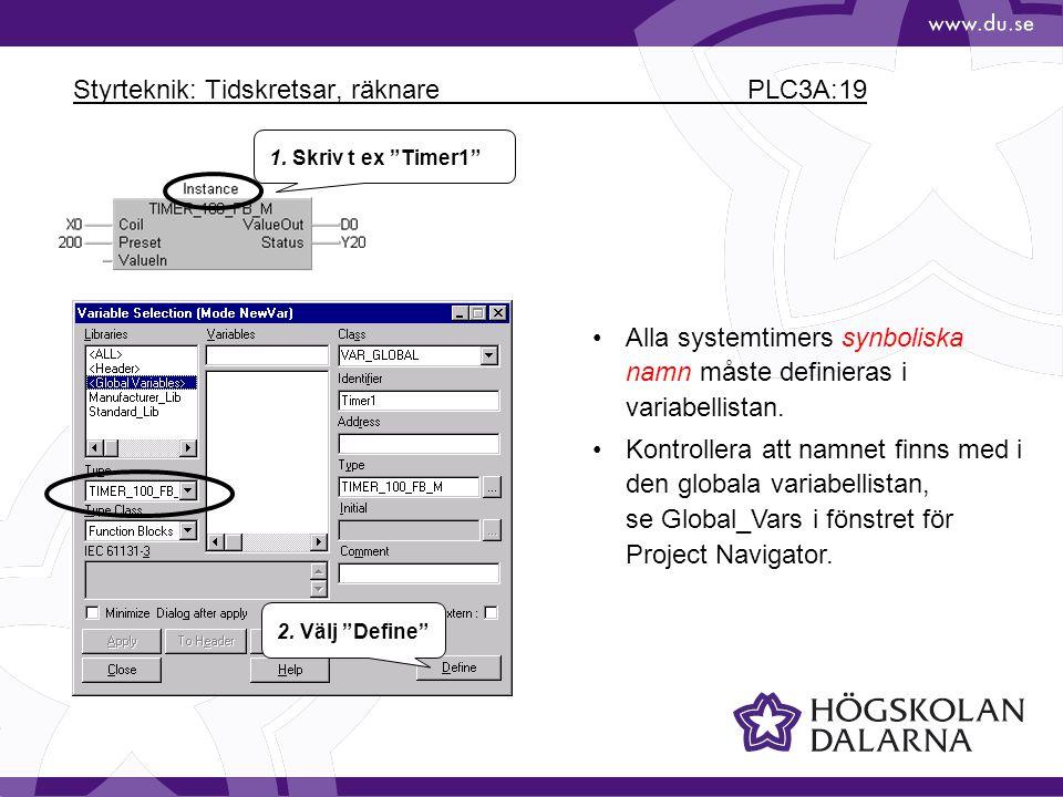 Styrteknik: Tidskretsar, räknare PLC3A:19