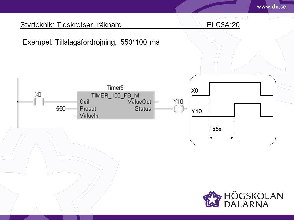 Styrteknik: Tidskretsar, räknare PLC3A:20