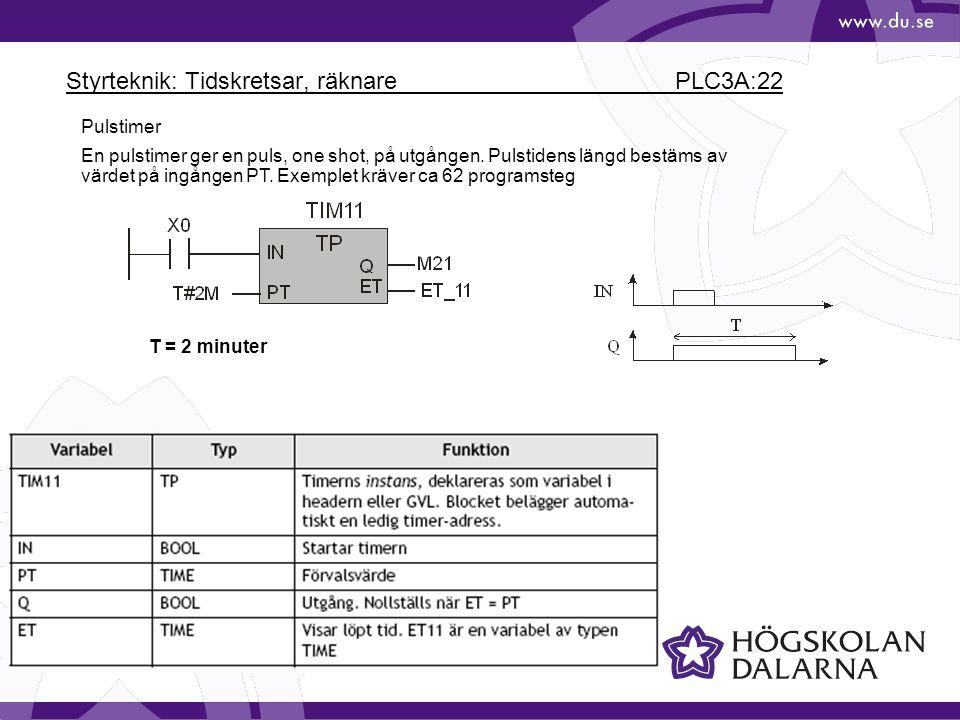 Styrteknik: Tidskretsar, räknare PLC3A:22