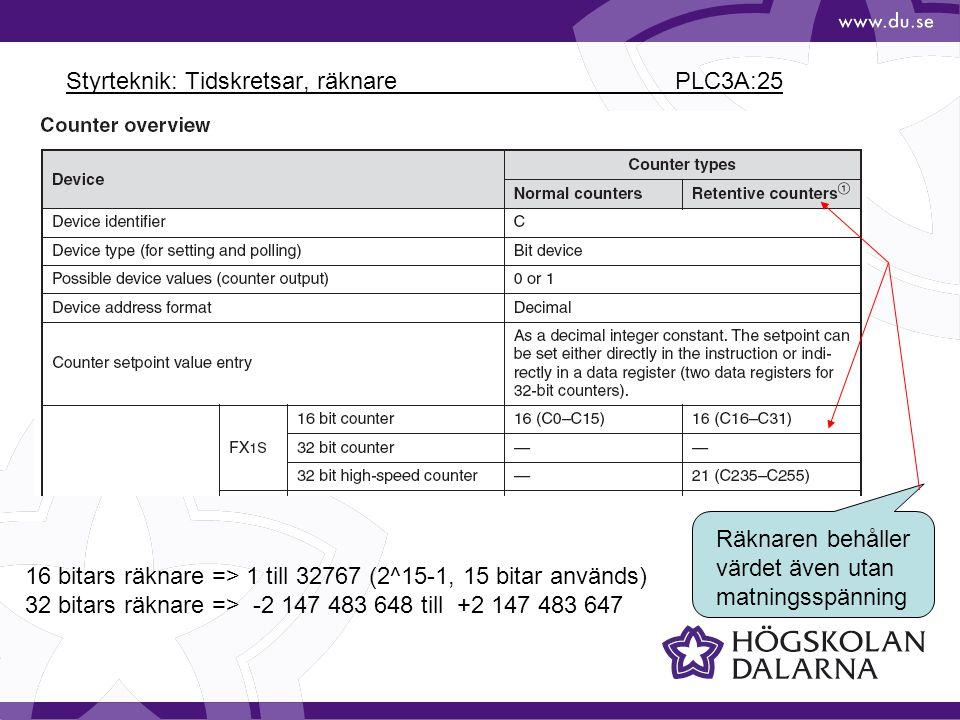 Styrteknik: Tidskretsar, räknare PLC3A:25