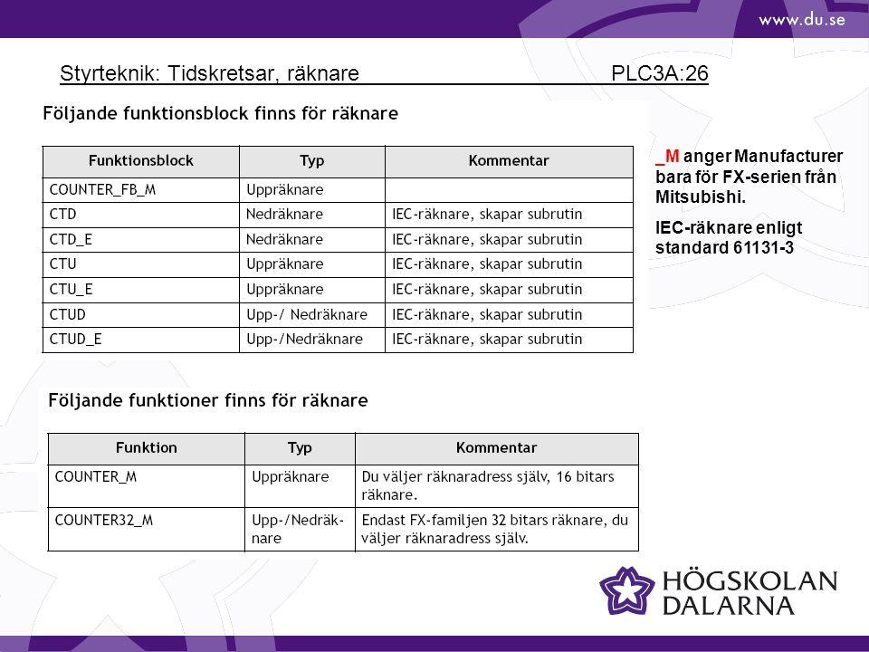 Styrteknik: Tidskretsar, räknare PLC3A:26
