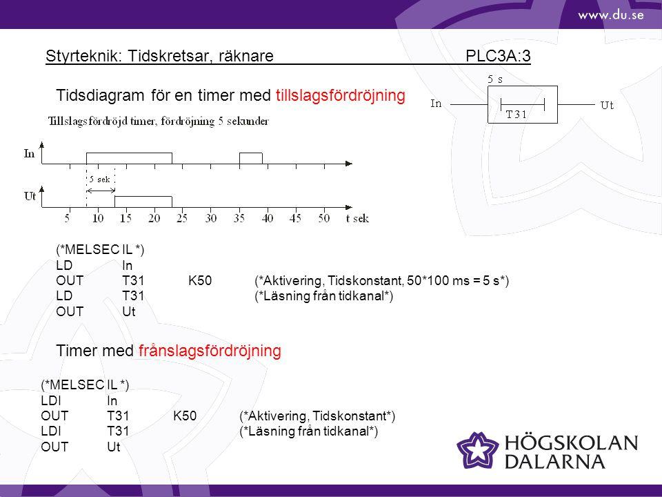 Styrteknik: Tidskretsar, räknare PLC3A:3