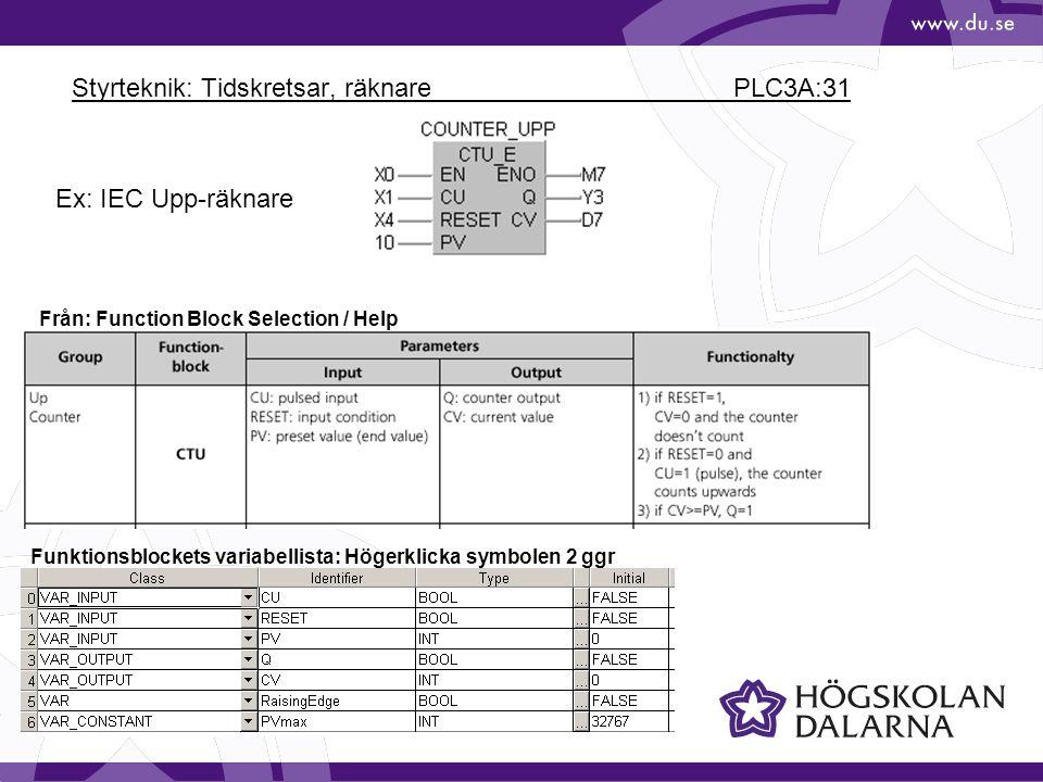 Styrteknik: Tidskretsar, räknare PLC3A:31