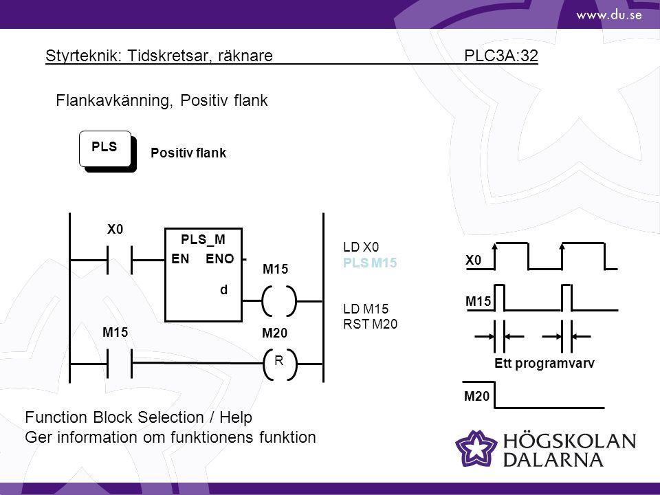 Styrteknik: Tidskretsar, räknare PLC3A:32