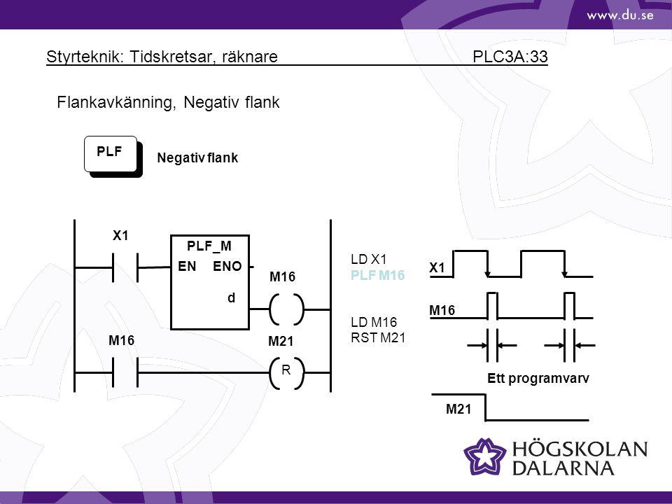 Styrteknik: Tidskretsar, räknare PLC3A:33