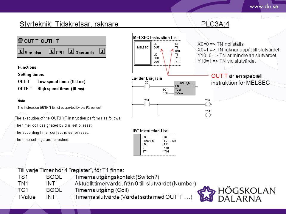 Styrteknik: Tidskretsar, räknare PLC3A:4