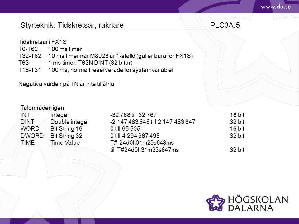Styrteknik: Tidskretsar, räknare PLC3A:5