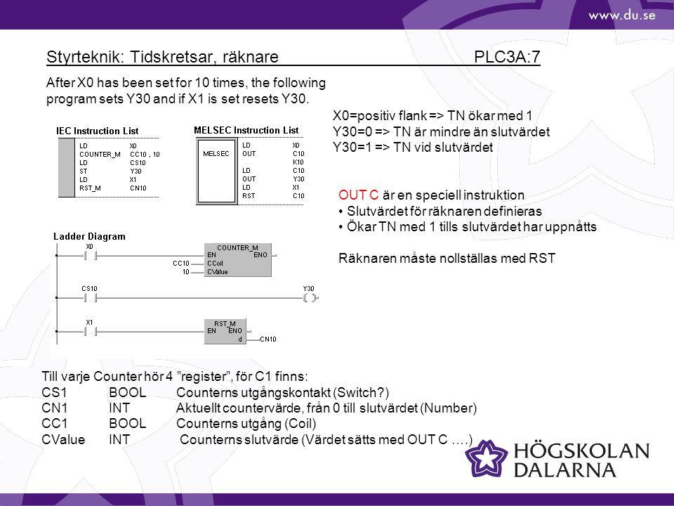 Styrteknik: Tidskretsar, räknare PLC3A:7
