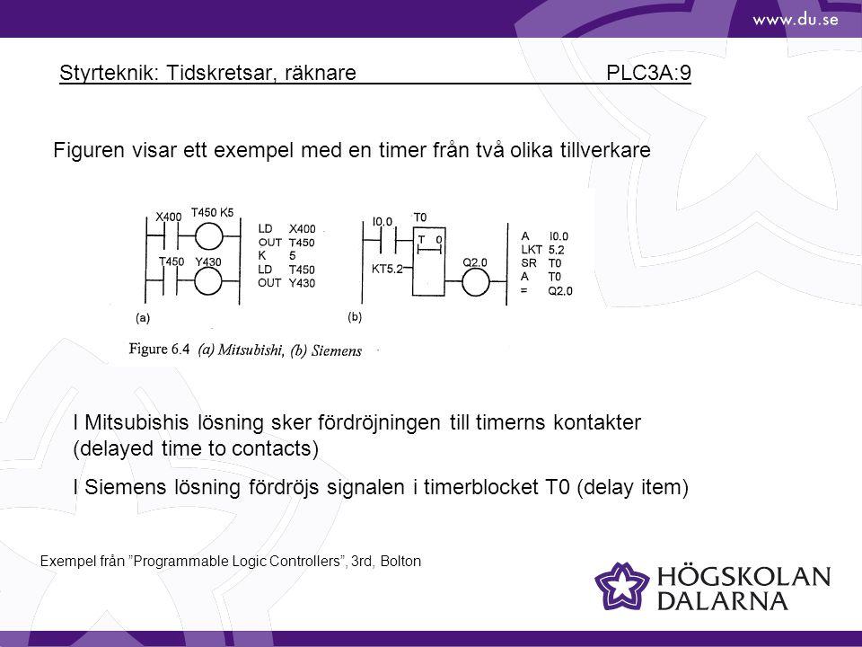 Styrteknik: Tidskretsar, räknare PLC3A:9