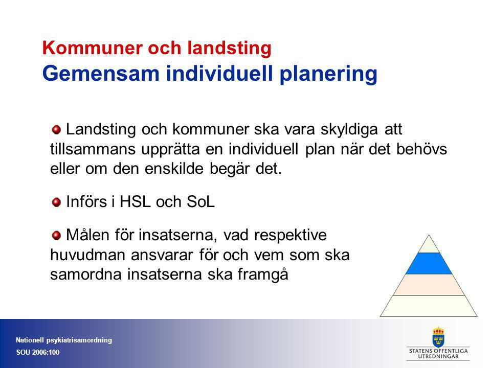 Kommuner och landsting Gemensam individuell planering