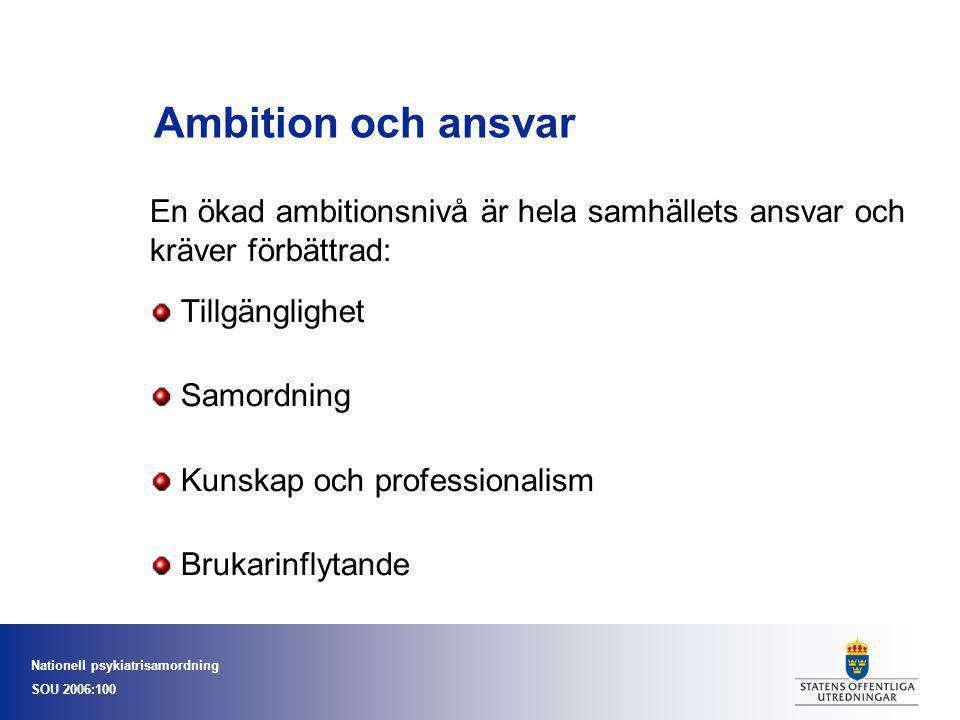 Ambition och ansvar En ökad ambitionsnivå är hela samhällets ansvar och kräver förbättrad: Tillgänglighet.