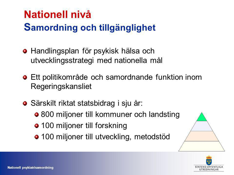 Nationell nivå Samordning och tillgänglighet