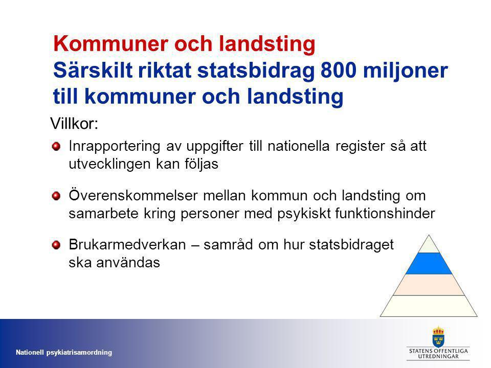 Kommuner och landsting Särskilt riktat statsbidrag 800 miljoner till kommuner och landsting