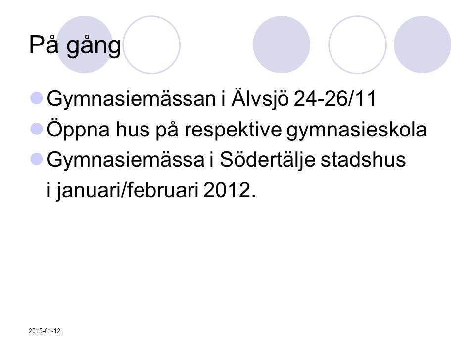 På gång Gymnasiemässan i Älvsjö 24-26/11