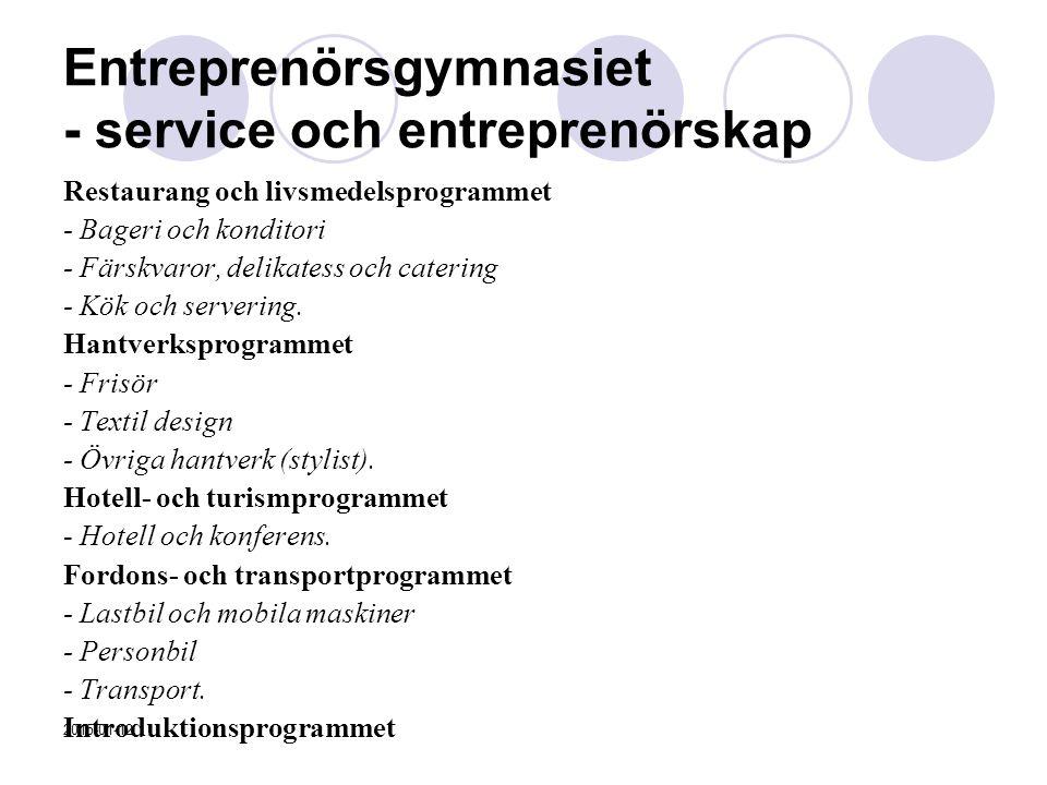 Entreprenörsgymnasiet - service och entreprenörskap