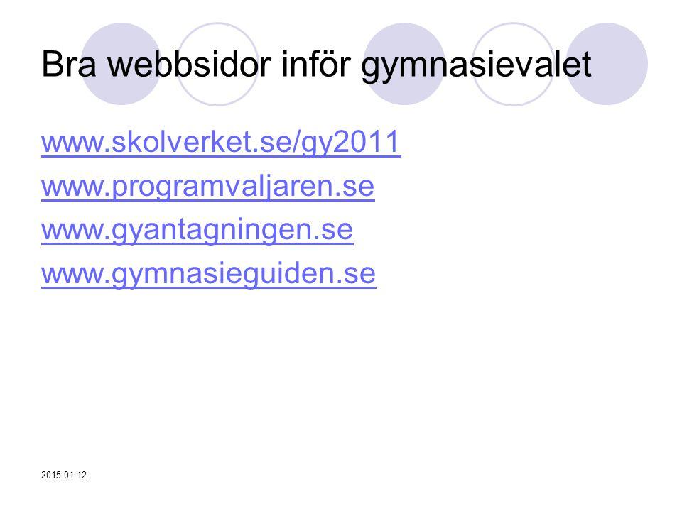 Bra webbsidor inför gymnasievalet