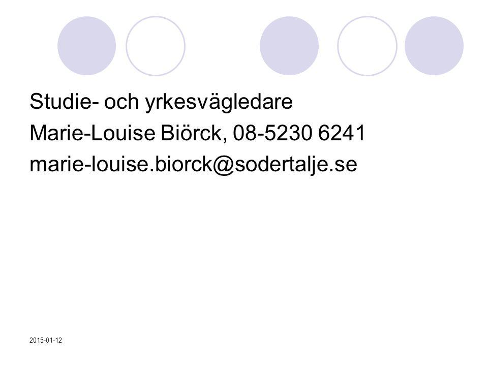 Studie- och yrkesvägledare Marie-Louise Biörck, 08-5230 6241 marie-louise.biorck@sodertalje.se