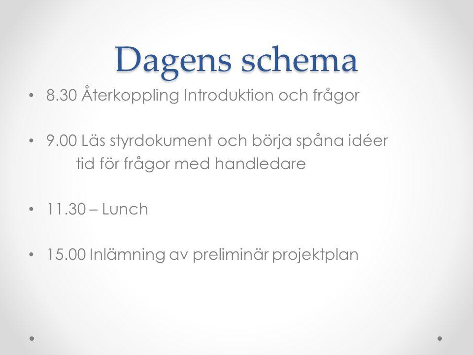 Dagens schema 8.30 Återkoppling Introduktion och frågor